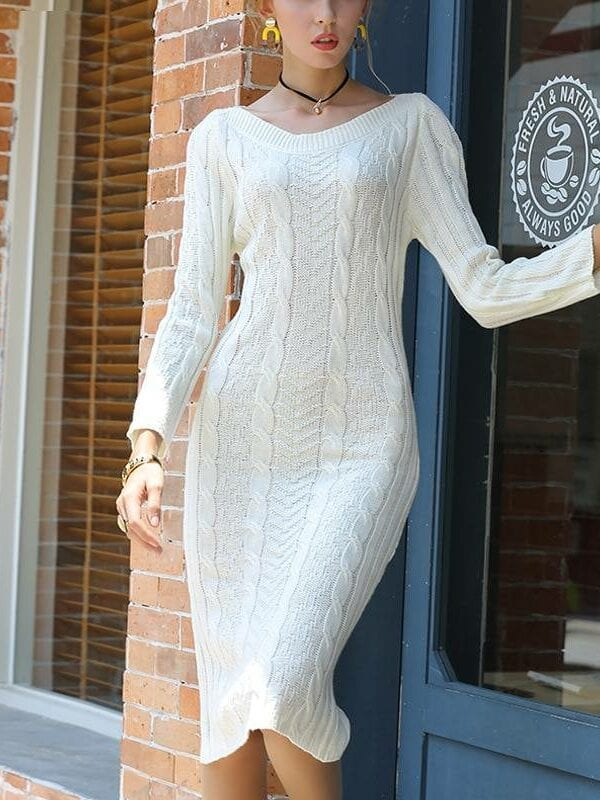 White black long sleeve knitted sweater bodycon pencil midi dress