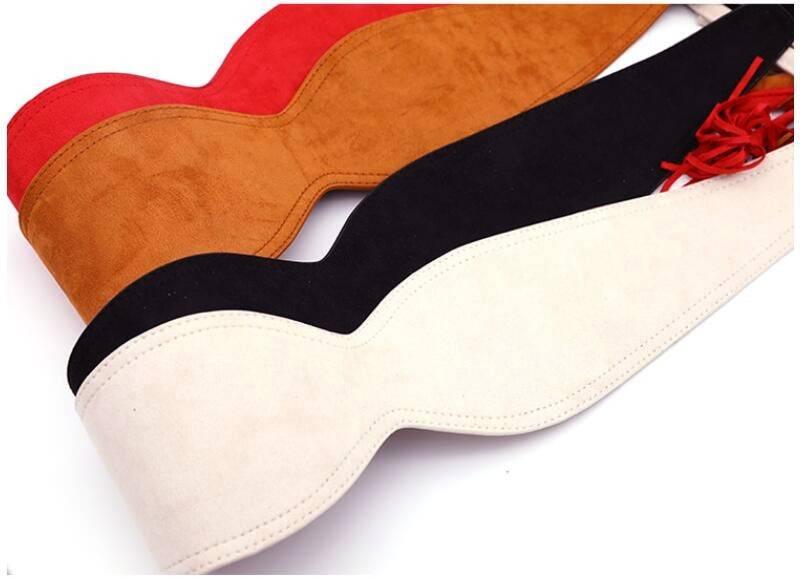 Black white wide leather belt
