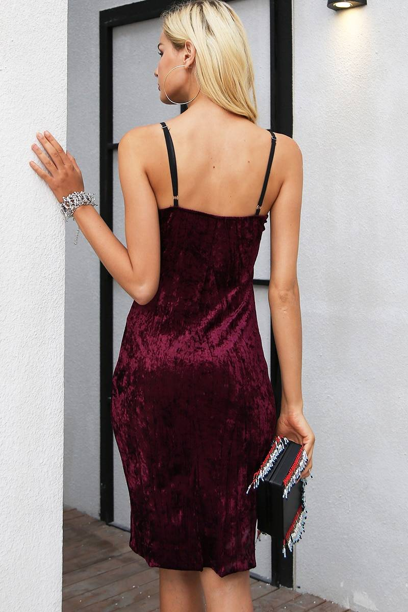 Strap lace v neck velvet mini dress