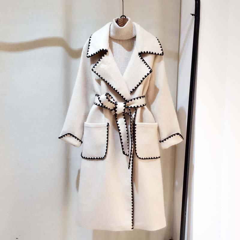 Wavy side embroidery notched long sleeve thick pocket sashes long jacket coat