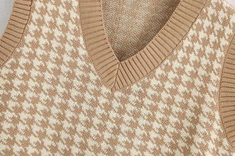 Oversized  v neck sleeveless houndstooth loose knitted waistcoat
