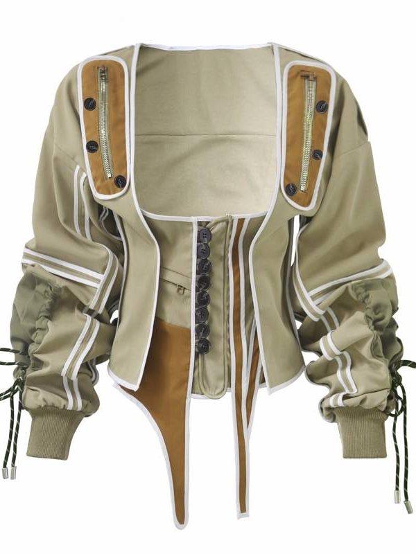 Patchwork irregular square collar lantern long sleeve lace up jacket coat
