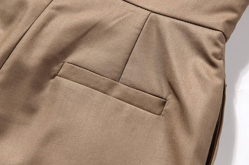 Irregular high waist lace up button straight pants