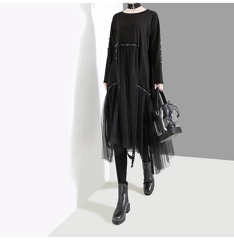Black long sleeve loose mesh midi dress