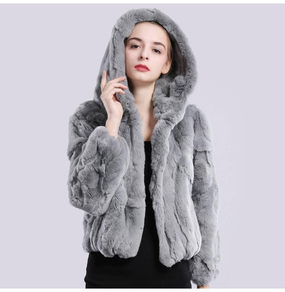 Natural rex rabbit fur hooded overcoat