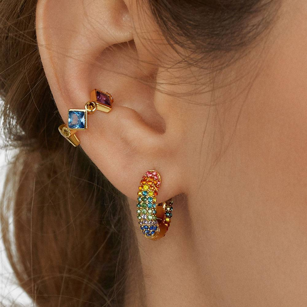 Rainbow Earrings Cubic Zirconia Ear Cuff Set 19
