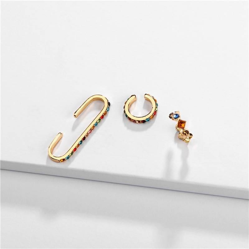 Rainbow Earrings Cubic Zirconia Ear Cuff Set 15