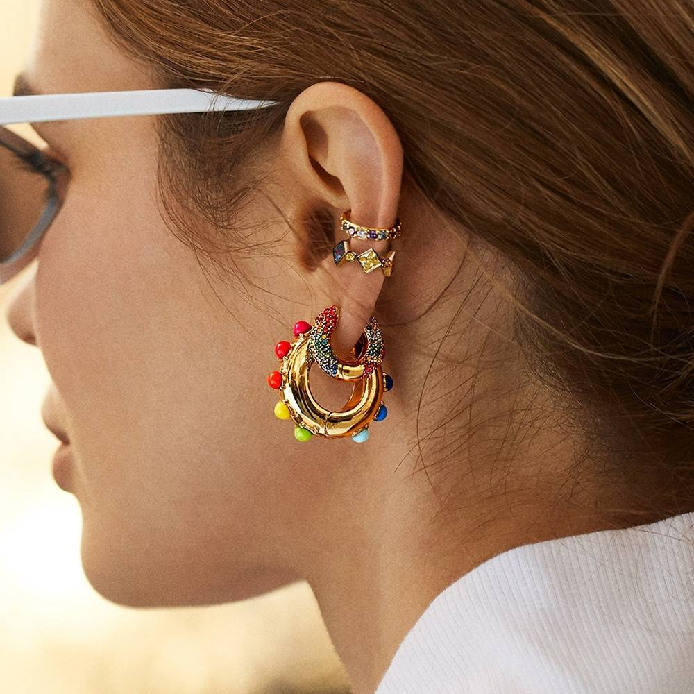 Rainbow Earrings Cubic Zirconia Ear Cuff Set 7