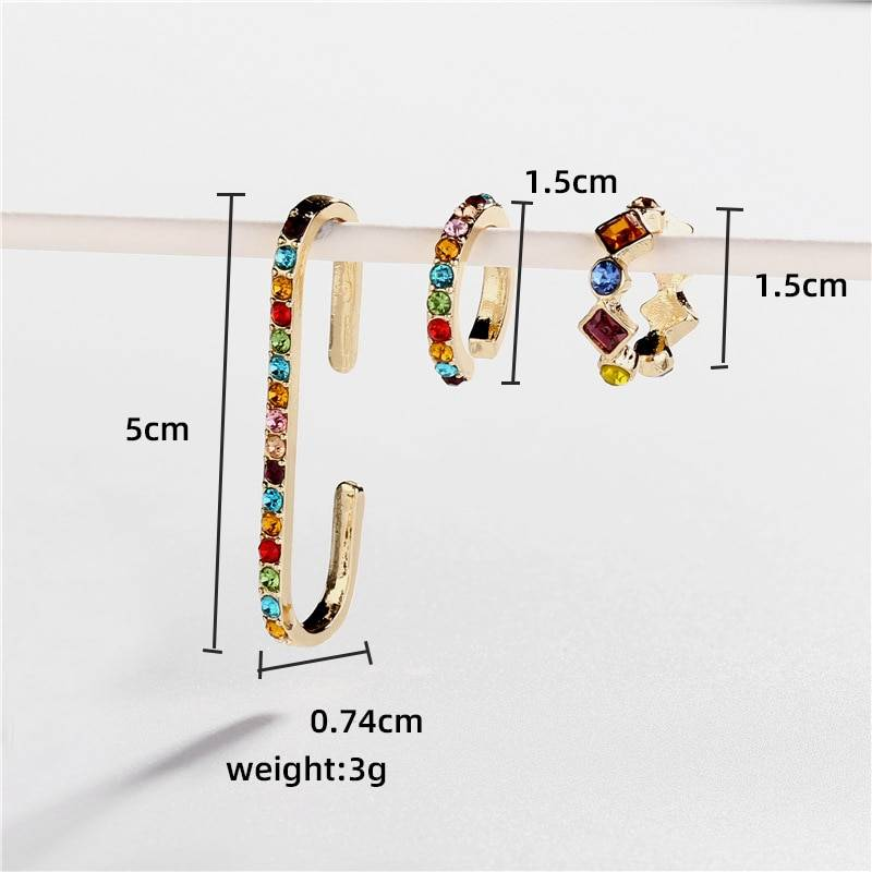 Rainbow Earrings Cubic Zirconia Ear Cuff Set 14