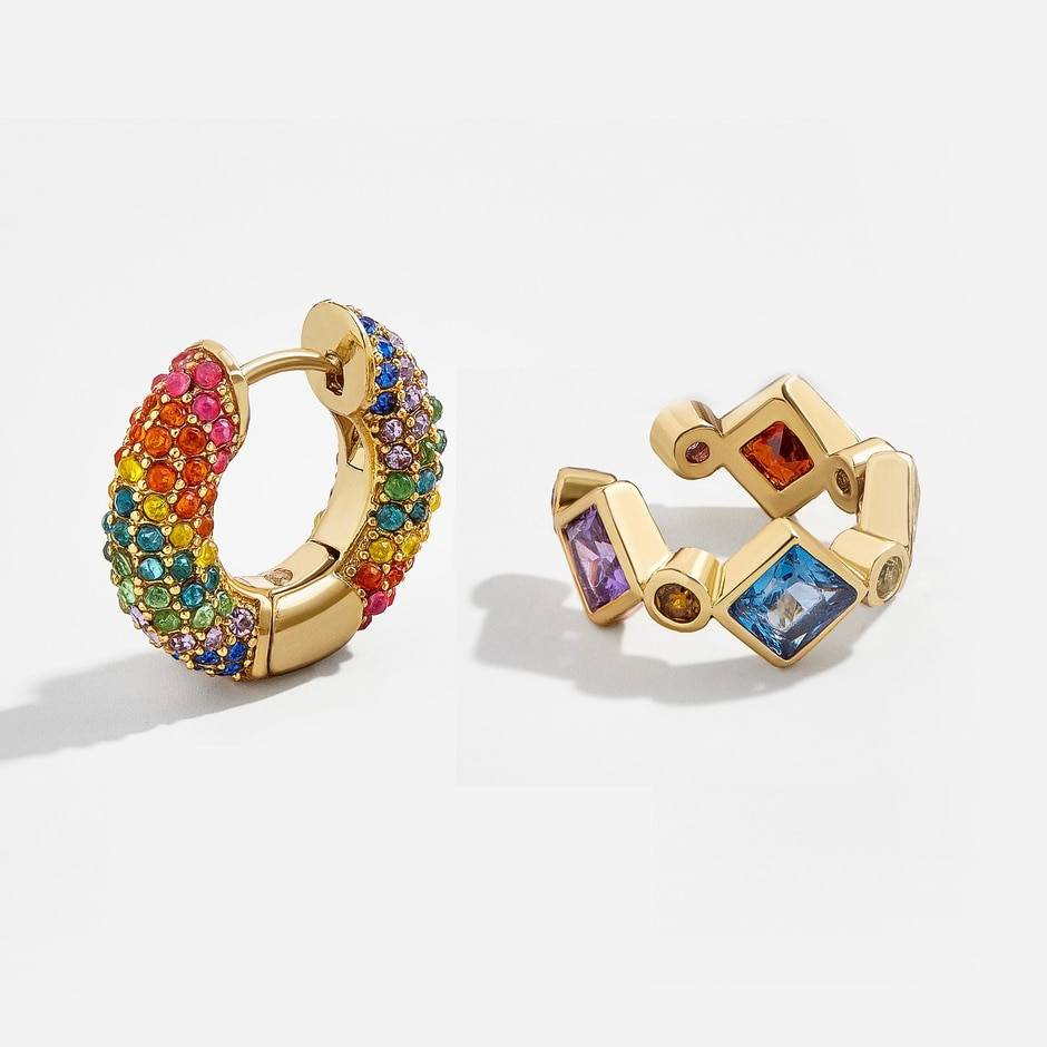 Rainbow earrings cubic zirconia ear cuff set
