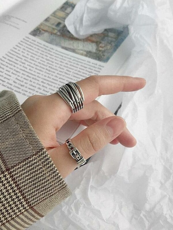 Silver multilayer line ring