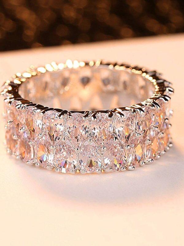 Silver crystal zircon stone ring vintage ring