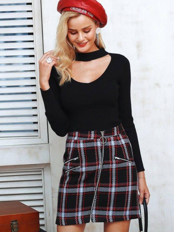 Elegant front zipper tweed mini skirt