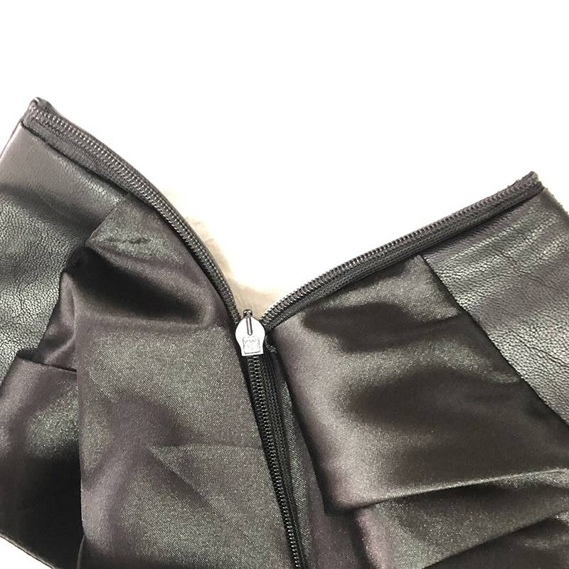 Vintage pu leather patchwork black and white a-line mini skirt
