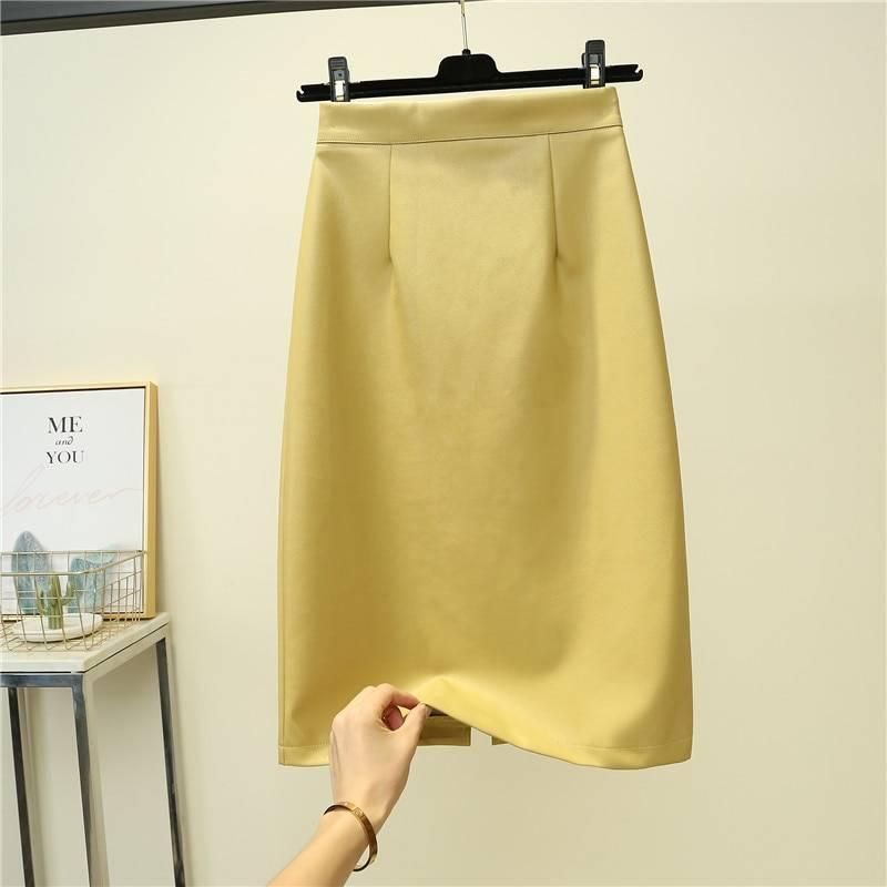 Elegant high waist straight split midi pu skirt