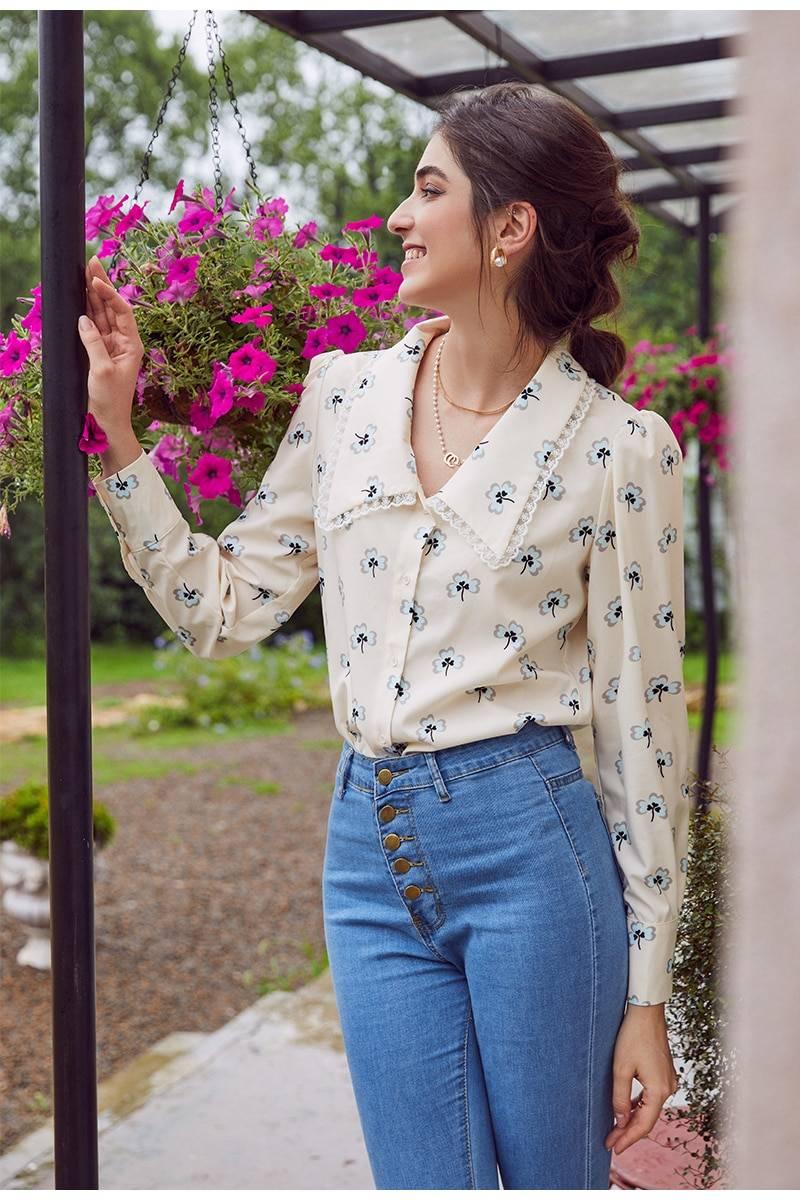 Simplee Vintage floral print blouse women Casual long sleeve female top shirt v-neck streetwear office ladies blouse shirt 2020