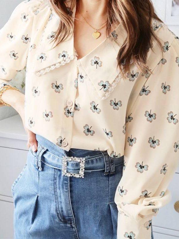 Vintage floral print long sleeve v-neck office blouse shirt