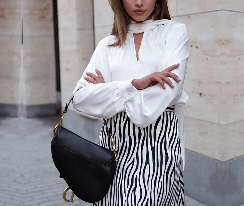 Elegant long sleeve tie-neck office blouse shirt