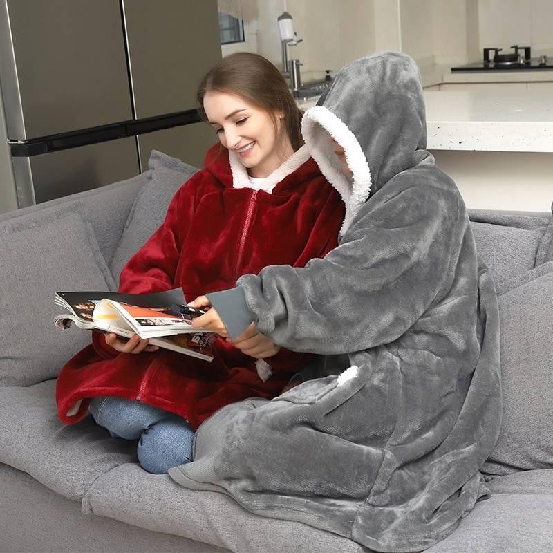 Blanket with sleeves oversized fleece warm hoodie sweatshirt