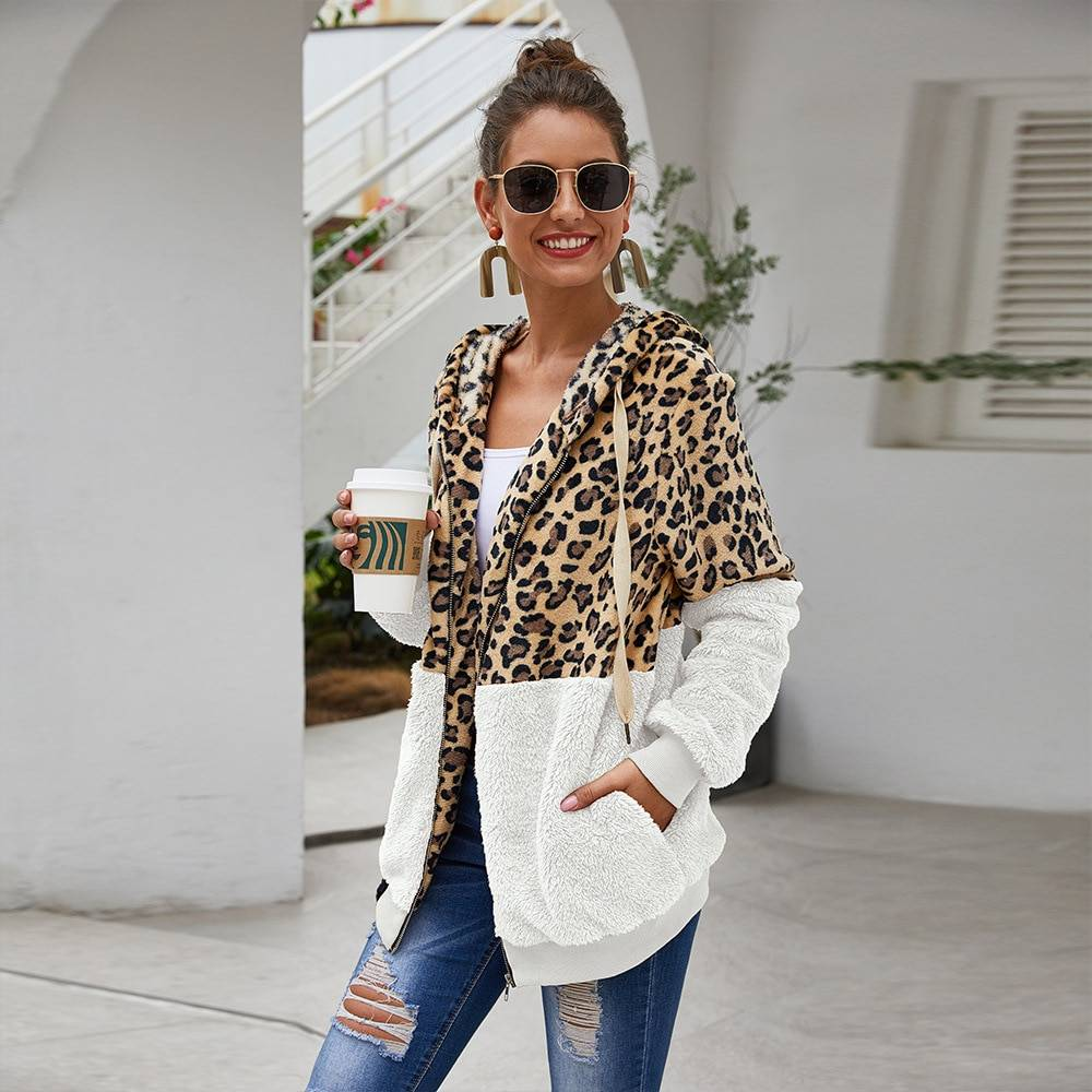 Hooded leopard zipper long sleeve sweatshirt