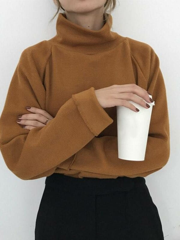Turtleneck long sleeve knitted loose pullover sweater
