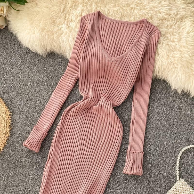 V neck elastic knitted long sweater dress