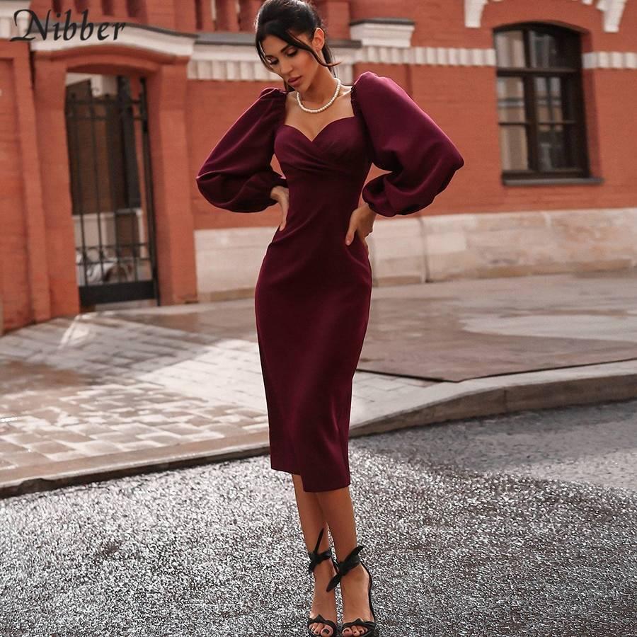 Elegant v neck off shoulder bodycon midi dress