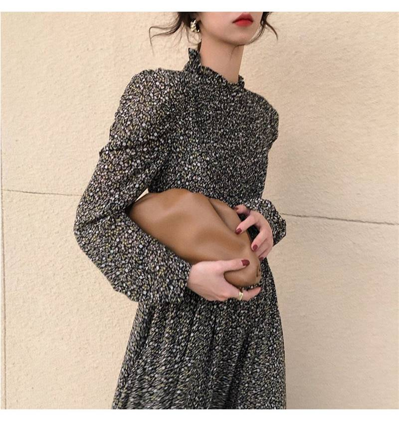 Vintage floral print stand collar ruched sleeve a-line dress