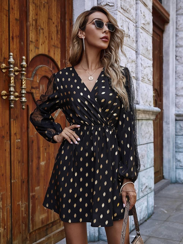 Elegant lantern sleeve v-neck mesh a-line mini dress
