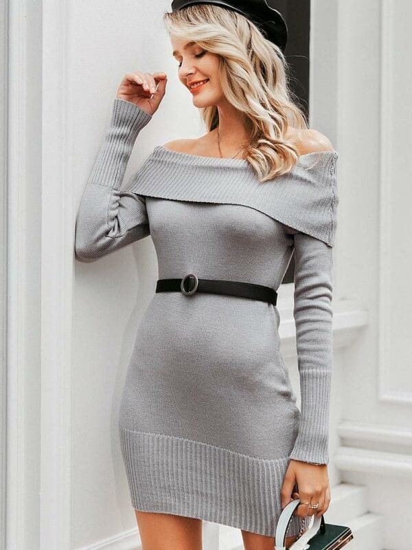 Off shoulder long sleeve knitted bodycon dress