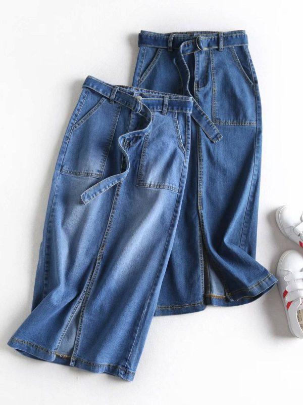 High waist midi denim pencil skirt