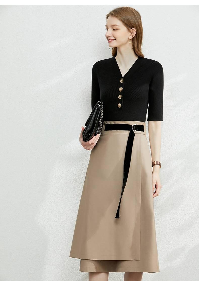 Minimalism solid belt high waist a-line irregular hem skirt