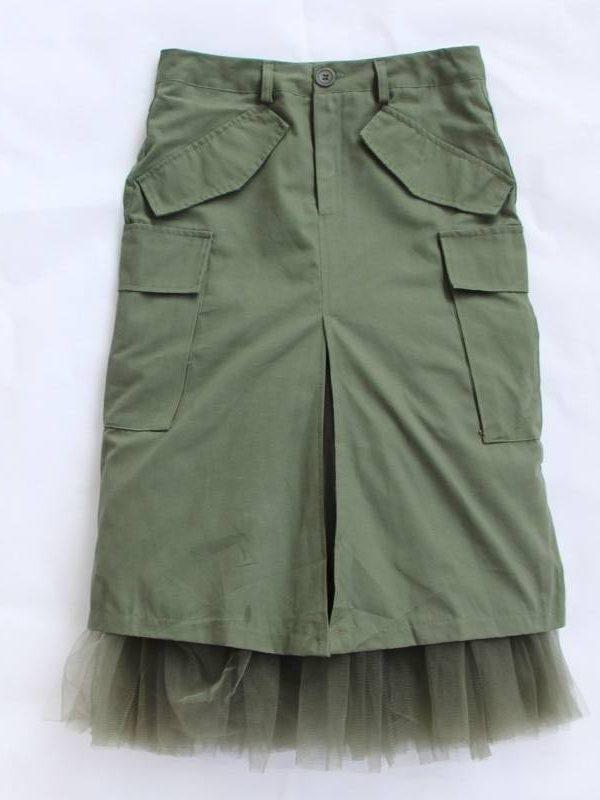 Tulle patchwork split high waist packet hip midi skirt