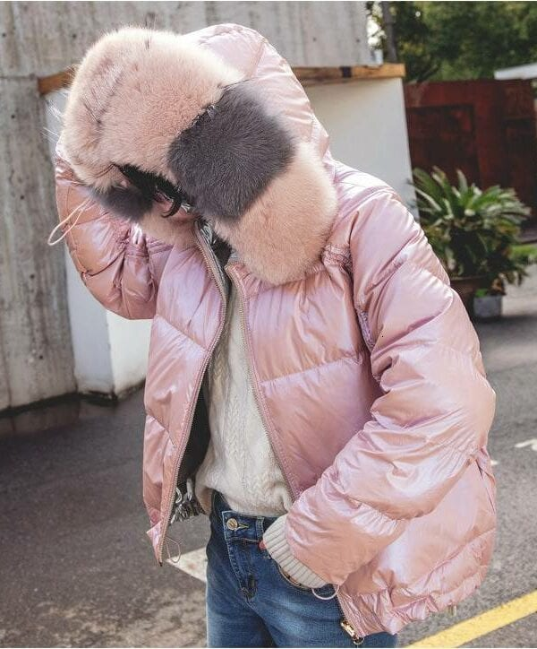 White duck down two side fox fur collar hooded jacket