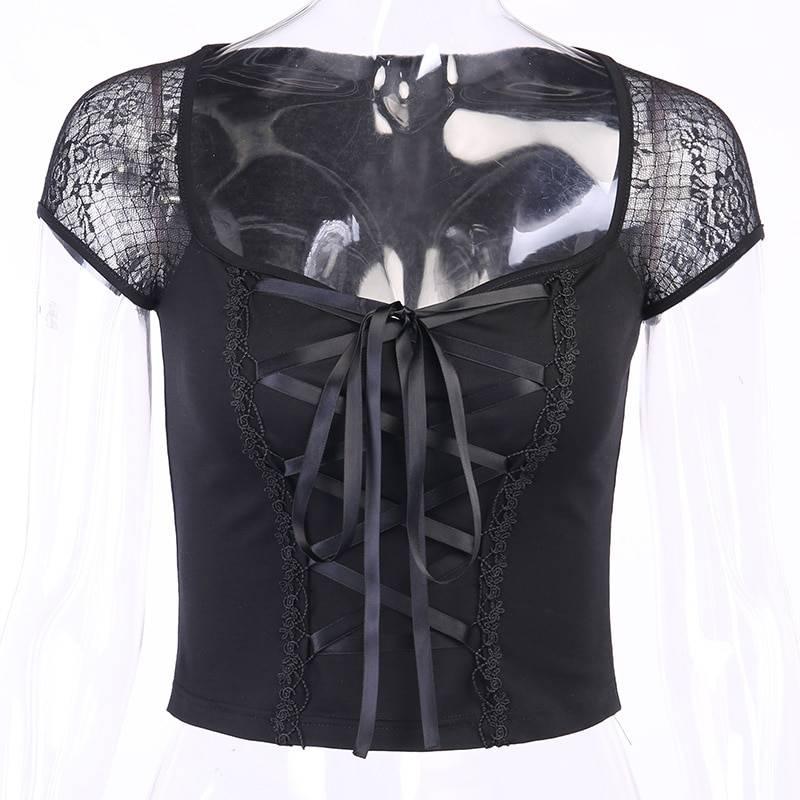 Vintage gothic lace black t-shirt top