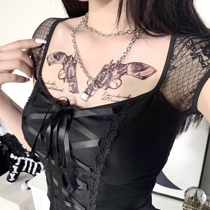 InsGoth Vintage Tops Goth T-shirt Women Bodycon Bandage Lace Black T-shirts Gothic Streetwear Sexy Female Top Casual Mesh Tee