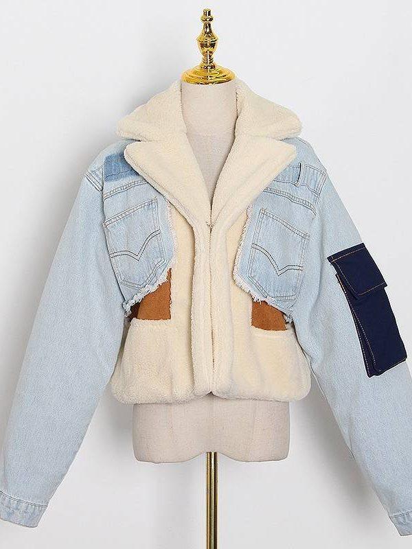Lapel long sleeve tassel patchowrk denim jacket