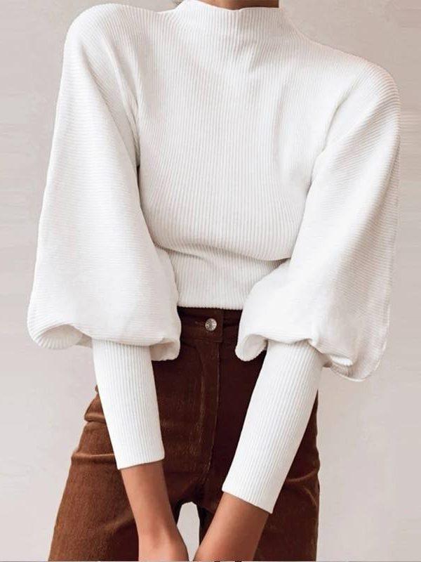 Elegant knitted high collar lantern sleeve loose sweater