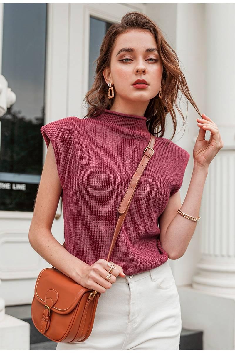 High neck sleeveless elegant pullover sweater