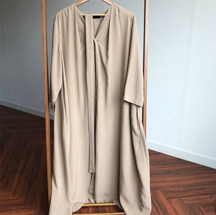 Lace up buttons v-neck vintage oversize long dress