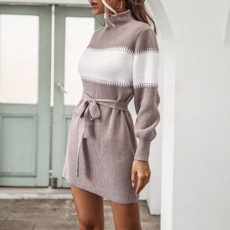 Stripe lace up high neck flared sleeve knitted dress