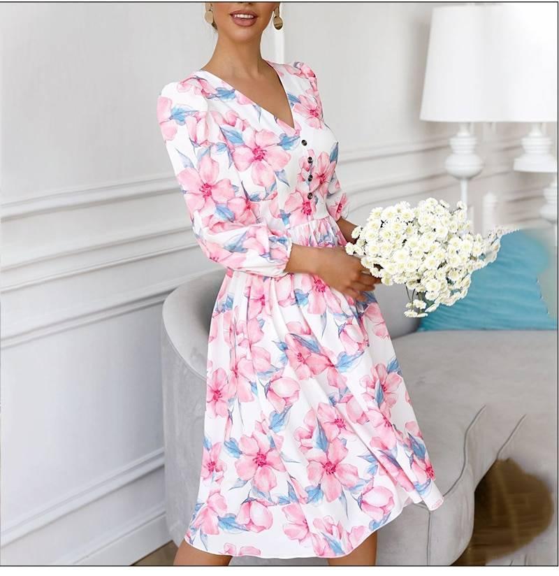 Elegant floral printing a-line v-neck single button midi dress