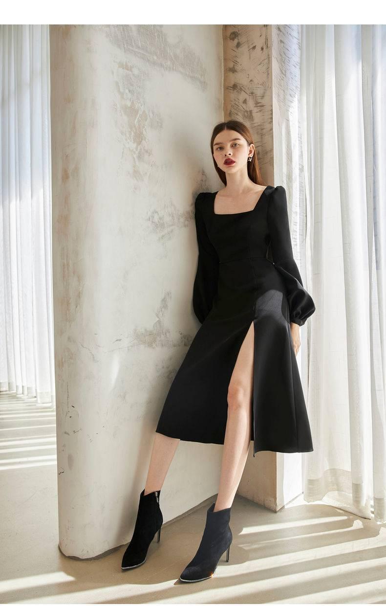 Elegant vintage black retro long sleeve split midi chiffon dress