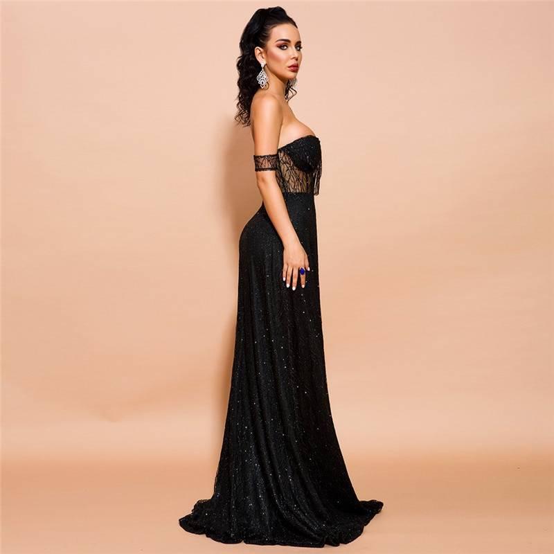 Black charming high split strapless sleeveless lace zipper back sequined dress