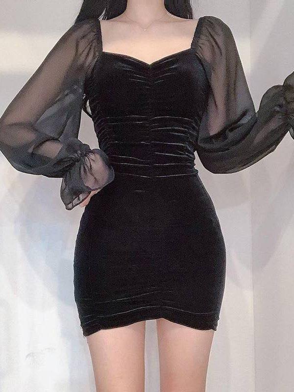 Gothic black v-neck splice mesh long sleeve mini dress