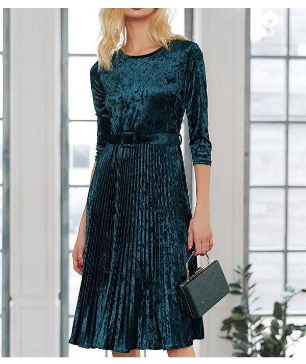 Velvet o neck three quarter sleeve pleated a line dress