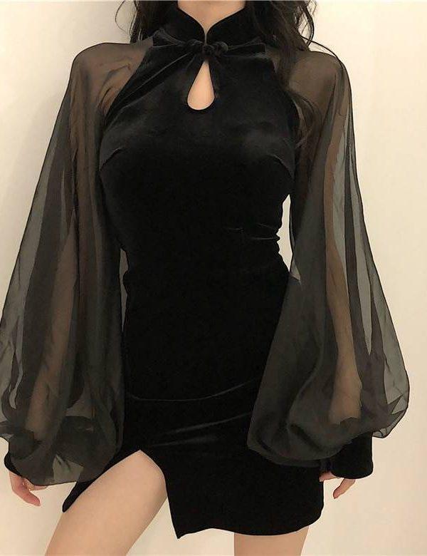 Stand neck split mesh patchwork lantern sleeve mini dress