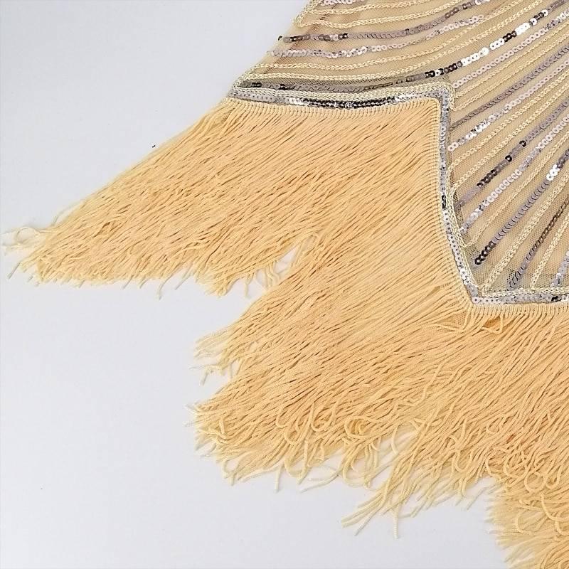 O-neck cap sleeve sequin fringe midi great gatsby dress