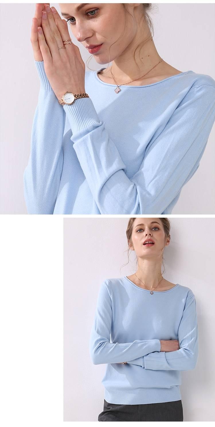 Long sleeves o-neck collar knitting sweater