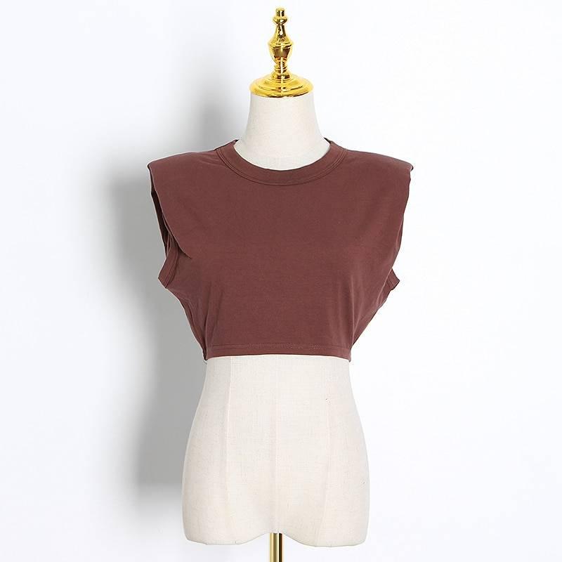 TWOTWINSTYLE Minimalist Women T Shirt O Neck Sleevelesss Elegant Short T-Shirt For Female Fashion Clothing 2020 Spring Summer